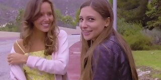 sexy talia mint and katya clover entertain voyeur in public with lesbian action