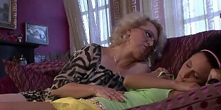 ing girl gets licked by horny blonde granny
