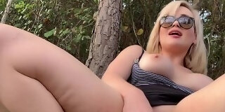 big boobs blonde nearly gets caught fucking and cumming on dildo at park