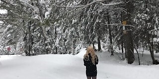 sexy female mask short dress legs and boots out in the snow