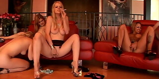 beautiful smoking lesbian orgy with cigarettes in their tight wet pussies