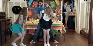 step sis and teen friend sneak fuck at cinco de mayo party